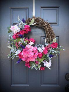 Spring Hydrangea Wreath Spring Wreaths Spring Door Wreaths