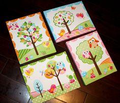 Set of 4 Owls Love Birdies Girls Bedroom Baby by ToadAndLily, $80.00