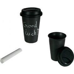 """Tasse Céramique Coffee to Go avec Craie et Couvercle en Silicone Craie et Couvercle en Silicone au meilleur prix. Nous vous présentons une géniale Tasse en Céramique Noire """"Coffee to go"""" avec craie et couvercle en silicone. Avec cette tasse, tu pourras laisser à ton partenaire les messages qui te viennent à l'esprit tandis que tu prends le petit-déjeuner"""