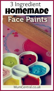 FACE PAINT recipe: two heaping teaspoons cornflour/cornstarch, one teaspoon baby lotion, a few drops food colouring, mix well to desired consistency. For a thicker paint add more cornflour/cornstarch; for thinner paint add more baby lotion or water. Homemade Face Paints, Homemade Paint, Homemade Face Masks, Projects For Kids, Diy For Kids, Crafts For Kids, Fun Crafts, Arts And Crafts, Baby Lotion