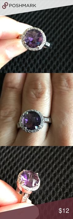 Engagement Ring Sterling Silver Plated CZ Size 7 Gorgeous ring with Purple CZ Stone Size 7. Comes with a cute gift  Jewelry Rings