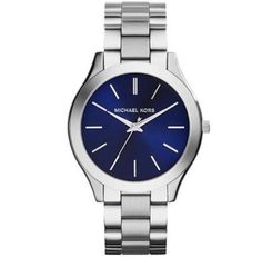 MICHAEL-KORS-MK3379-WOMENS-SLIM-RUNWAY-SILVER-TONE-NAVY-DIAL-SS-WATCH-NEW