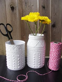 Upcycled Mason jars into Shabby Chic designs