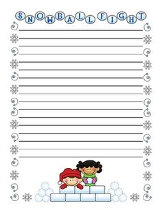 Winter Writing - Creative Writing Stationery $4.00