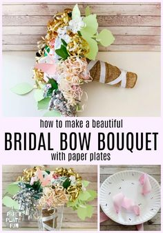 Aug 2019 - Attention maids-of-honor! Learn how to make the prettiest bridal shower bow bouquet for the wedding rehearsal with paper plates and these simple steps! This bow bouquet is gorgeous! Wedding Rehearsal Bouquet, Bridal Shower Bouquet, Bridal Shower Backdrop, Wedding Bows, Bridal Shower Decorations, Bridal Shower Crafts, Wedding Ideas, Wedding 2015, Ribbon Bouquet