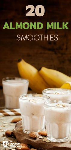 20 creamy, filling almond milk smoothies. Follow my almond milk recipe to make your own almond milk or use any dairy free milk in these delicious smoothies. Protein Fruit Smoothie, Almond Milk Smoothie Recipes, Milk Smoothies, Raw Vegan Smoothie, Healthy Blender Recipes, Make Ahead Smoothies, Smoothie Prep, Smoothie Ingredients, Yummy Smoothies