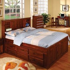 Merlot Full Bookcase Captain's Bed Configuration: 3 Drawers + 1 Trundle Unit...CLICK for more detail...FREE Shipping on order over $25