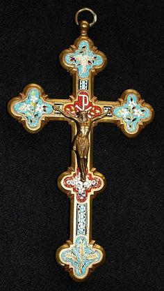 Antique micro mosaic cross - crucifix - Italian grand tour  Rare