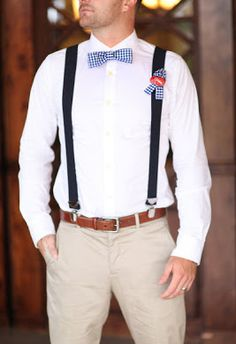 Groom Style | Blue Checkered Bowtie