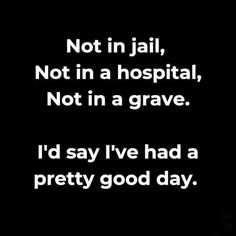 Not in jail, not in a hospital, not in a grave. I'd say I've had a pretty good day. Sarcastic Quotes, True Quotes, Best Quotes, Funny Quotes, Pain Quotes, Was Ist Pinterest, Dialogue Prompts, Funny Signs, In This World