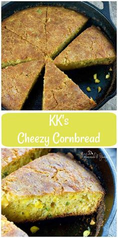 KK's Cheezy Cornbread is the perfect blend of corn, cheese and heat. If you like cornbread with a kick, this is for you. Muffin Recipes, Bread Recipes, Baking Recipes, Dessert Recipes, Grandma's Recipes, Skillet Recipes, Veggie Recipes, Brunch Recipes, Side Dishes Easy