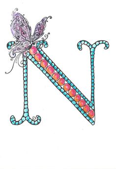 Zentangle Inspired Monogram Letter with Butterfly by Leopardtude, $6.50