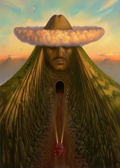 Road To Mexico. Vladimir Kush. Surrealist Artist. Painting. Modern Contemporary Art. Surrealism.