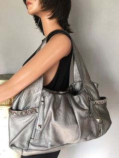 B Makowsky Genuine Leather Bag Silver Designer Fashion Hip Chic Soft  #BMakowsky #Hobo