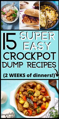 2 weeks of super easy slow cooker recipes for dinner. All of these chicken and beef crockpot meals are dump and go! Many have as few as 3 ingredients, and are very simple and cheap to make. Just dump the ingredients into your slow cooker, and let dinner cook itself for 8 hours or so while you're busy or at work. No preparation required! These easy dinner ideas are perfect for busy weeknights, and include soup and pasta recipes, plus tons of other comfort foods. Recipes in post! #crockpotrecipes Easy Dinner Recipes, Pasta Recipes, Dinner Ideas, Easy Meals, Meal Ideas, Crockpot Dump Recipes, Slow Cooker Recipes, Cockpot Meals, Slow Cooking