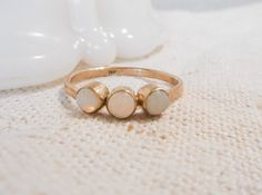 Triple Opal and Gold Ring // Solid 14k by TarnishedAndTrueGOLD