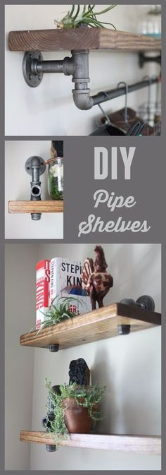 DIY Shelves and Do It Yourself Shelving Ideas - Industrial Pipe and Wood Bookshelves - Easy Step by Step Shelf Projects for Bedroom, Bathroom, Closet, Wall, Kitchen and Apartment. Floating Units…More Step Shelves, Diy Pipe Shelves, Pallet Shelves, Pallet Walls, Easy Shelves, Rustic Shelves, Black Shelves, Black Pipe Shelving, Plumbing Pipe Shelves