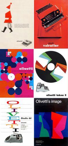 MID-CENTURY MODERN DESIGN, Olivetti Typewriter Ads, 1960s