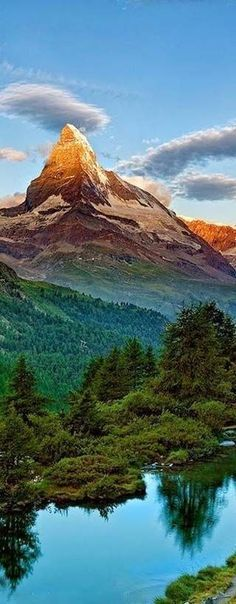 The tranquil Swiss Alps in Switzerland.