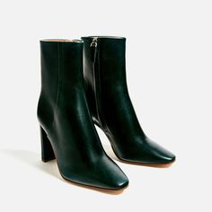 On my list for next boot purchase! The green leather is so luxe   LEATHER HIGH HEEL ANKLE BOOTS-Ankle boots-SHOES-WOMAN | ZARA United States