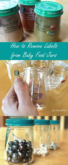 How to remove labels from Beechnut baby food jars with no chemichals, a tutorial from Liz @PurlsAndPixels