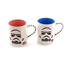 Mr and Mrs Storm Trooper Mug Set Star Wars -- Take a look at the picture by going to the web link. (This is an affiliate link). Stoneware Mugs, Earthenware, Star Wars Mugs, Star Wars Wedding, Couple Mugs, The Force Is Strong, Star Wars Humor, Product Offering, Mugs Set