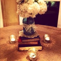 blue jars, jar candles, fluffy flowers