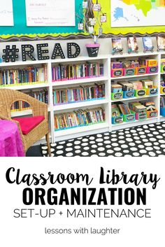 Library Organization Ideas for organizing a colorful classroom library from Lessons with LaughterIdeas for organizing a colorful classroom library from Lessons with Laughter Classroom Library Labels, New Classroom, Primary Classroom, Classroom Design, Classroom Decor, Classroom Libraries, Apple Classroom, School Libraries, Classroom Supplies