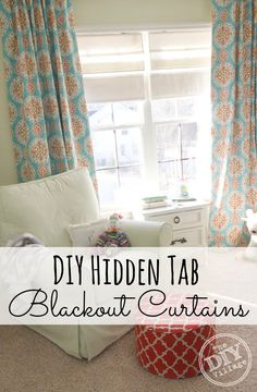 DIY Hidden tab blackout curtain perfect for any room you want to keep dark during the day or in the summer when it stays light longer.