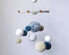 Neutral pom pom mobile, pom pom baby mobile, nursery decor boy , white tan and dusty blue, yarn mobile, baby mobile nursery boy