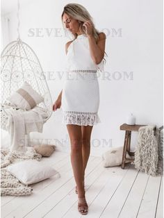 graduation vestidos 10 White Graduation Dress Looks To Get Your Diploma In Ibiza, White Lace Shorts, White Midi Dress, Trendy Clothes For Women, Trendy Clothing, Short Mini Dress, The Dress, Short Skirts, Homecoming Dresses