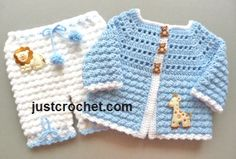 Free baby crochet pattern for matinee coat & pants FJC84 http://www.justcrochet.com/coat-bloomers-usa.html #justcrochet