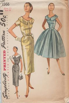 Vintage 50s naaien patroon / eenvoud 1566 / jurk / grootte 14 buste 32