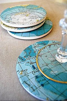 DIY: Map Coasters... I would do this with satellite pictures of earth