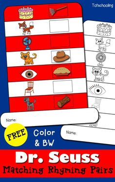 FREE printable Dr. Seuss inspired book activity for the Cat in the Hat. Cut, paste, and match 7 pairs of rhyming pictures on the spaces in the hat. Great for preschoolers and kindergarten to celebrate Read Across America Day.