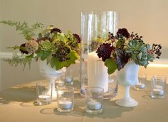 rehearsal dinner centerpiece vases-using bright fall flowers