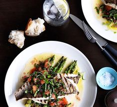 Australian Gourmet Traveller recipe for grilled baby snapper with sauce Antiboise by Donovan Cooke from The Atlantic, Melbourne.