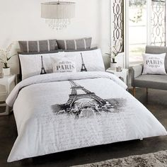 PARIS EIFFEL TOWER DOUBLE FULL bed QUILT DOONA COVER SET NEW | eBay