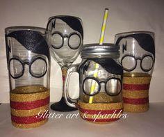 Harry Potter Inspired Glitter Wine Glass More