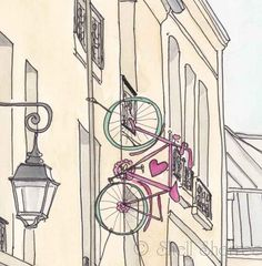$20 Paris Bicycle Romance art illustration print