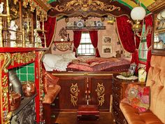 Interior of a horse drawn gypsy wagon by Anguskirk, via Flickr  If you would like to read my gypsy story:  http://happyfallyouall.blogspot.com/