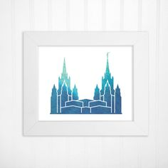 San Diego California LDS Temple Watercolor by inspiredtypedesigns  Watercolor print featuring the stunning San Diego California LDS temple; four color options available: blues, greens, reds or purples.