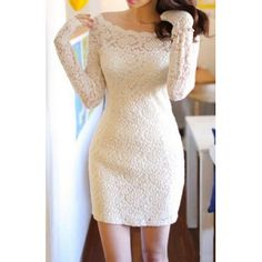 $12.24 Hollow Out Design Floral Print Long Sleeve Solid Color Scoop Neck Lace Dress