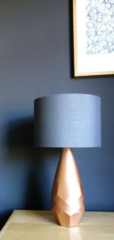 Karen's dark grey walls and her Arenite Table Lamp which she's accessorised with a copper base. | MADE.COM/Unboxed