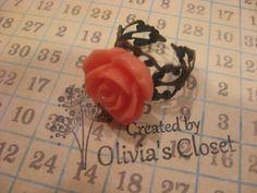 Coral Resin Rose Flower Ornate Bronze Ring Adjustable