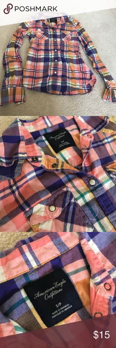 American Eagle Purple & Orange Flannel Great condition American Eagle Purple & Orange Flannel size Small. Super soft flannel! Bundle to save on shipping! American Eagle Outfitters Tops Button Down Shirts