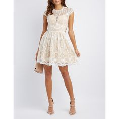 Charlotte Russe Lace Lace-Up Skater Dress ($26) ❤ liked on Polyvore featuring dresses, white, white sheer dress, sheer dress, white embroidery dress, white embroidered dress and white lace dress
