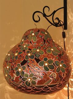 Wall art Gourd lamp with glass beadwork on flowers by AdeleBishop, $200.00