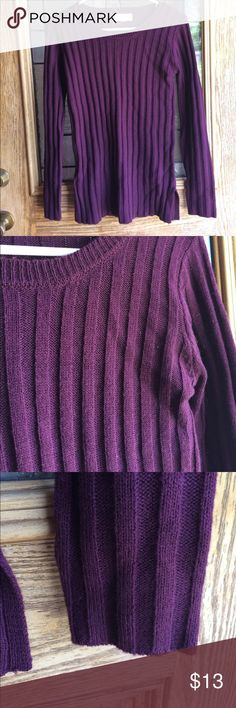 Purple sweater Dark purple sweater with ribbed texture. Size small but is a bit long. Rather thin and light, could layer. Washed once but never worn. Pink Republic Sweaters Crew & Scoop Necks