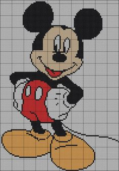 Cross Stitch Patterns free cross stitch patterns and links: free Mickey Mouse pattern Cross Stitch Patterns Free Disney, Counted Cross Stitch Patterns, Cross Stitch Charts, Cross Stitch Designs, Cross Stitch Embroidery, Mickey E Minnie Mouse, Disney Stich, Stitch Cartoon, Crochet Cross